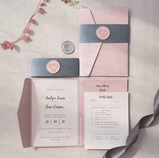 blush pink and grey wax seal pocketfold handmade wedding invite glasgow