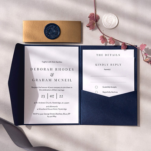 navy pocketfold invitation gold bellyband colourful wedding stationery