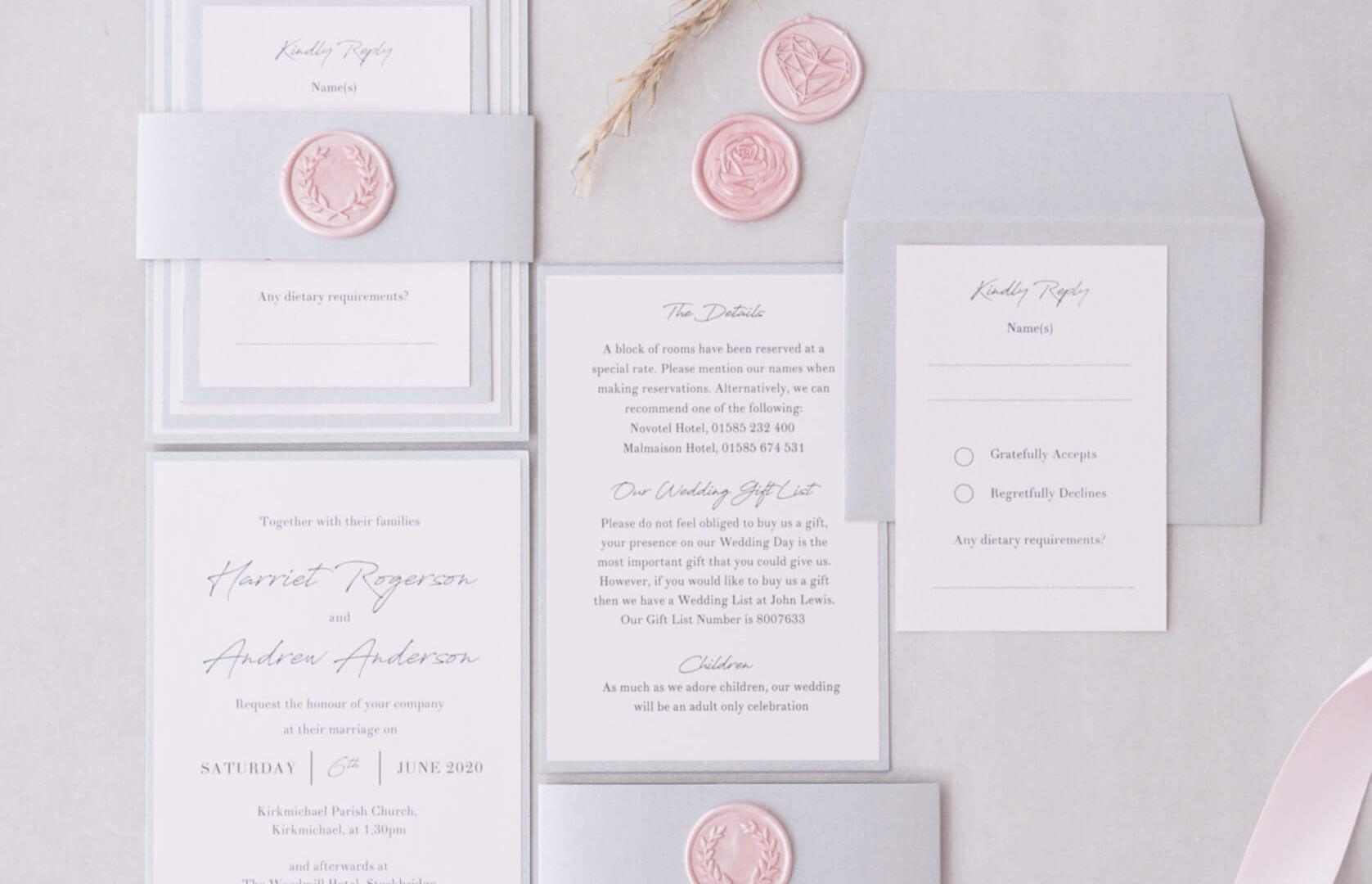 Lyn layered stacked handmade personalised wedding livite bellyband wax seal ayrshire