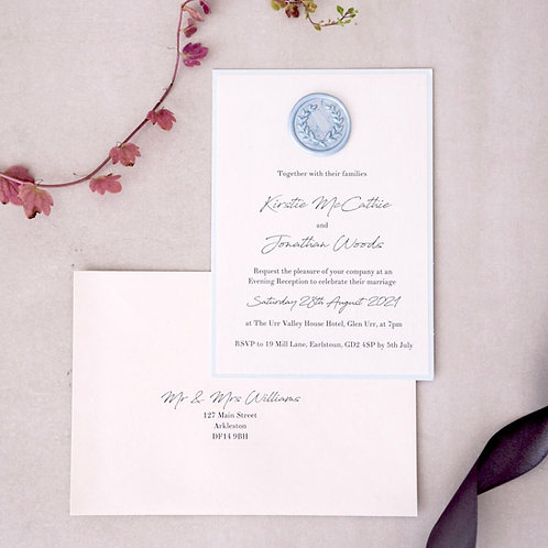 pale blue handmade wax seal evening invitation Scotland guest addressed envelope