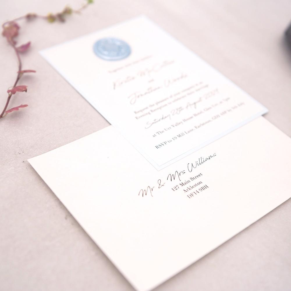 Wax seal wedding stationery baby blue