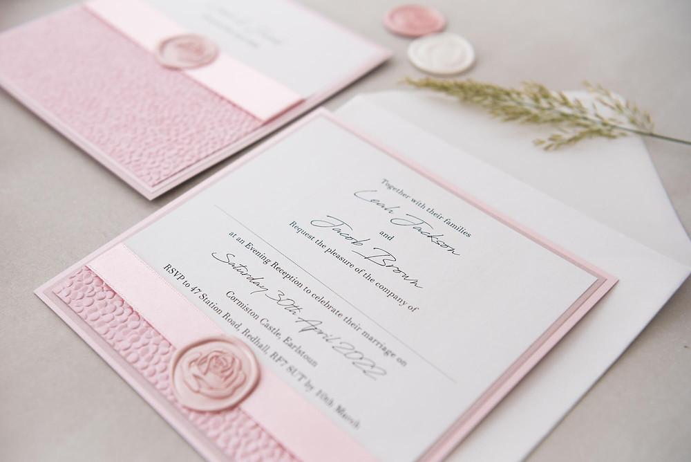 pink evening handmade wax seal wedding invite scotland