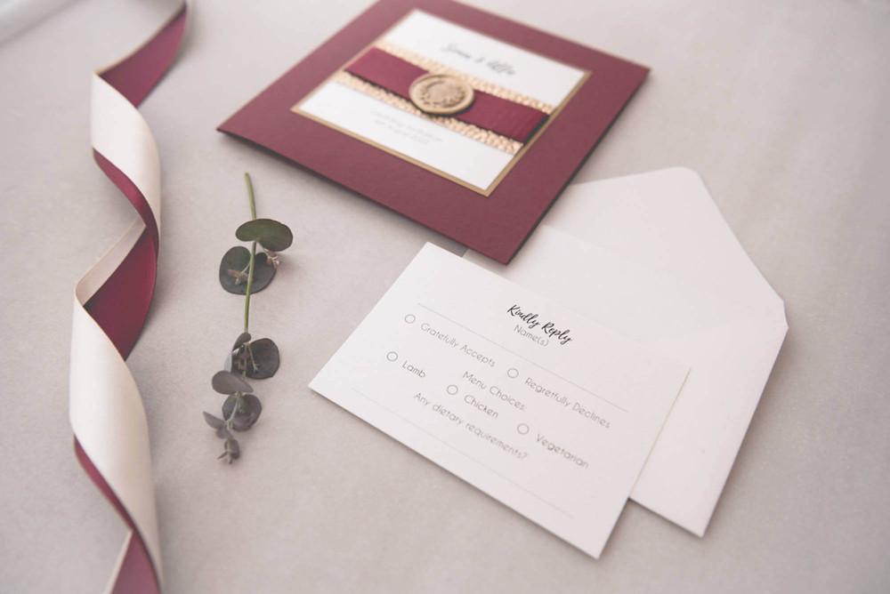luxury handmade pocketfold wedding invite burgundy RSVP card