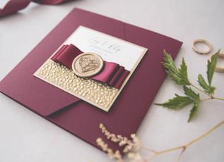 Wedding Colour Schemes - Autumnal Burgundy Wedding Invitations