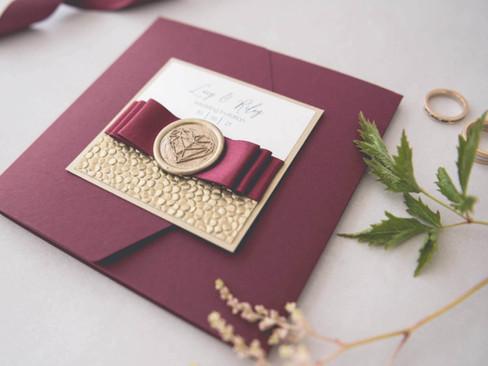 Wedding Colour Schemes- Autumnal Burgundy Wedding Invitations