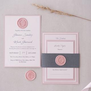 stacked modern wedding invite with handmade wax seal and bellyband edinburgh