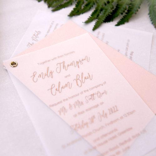 luxury digital gold foil on vellum swing metal eyelet handmade wedding invitation