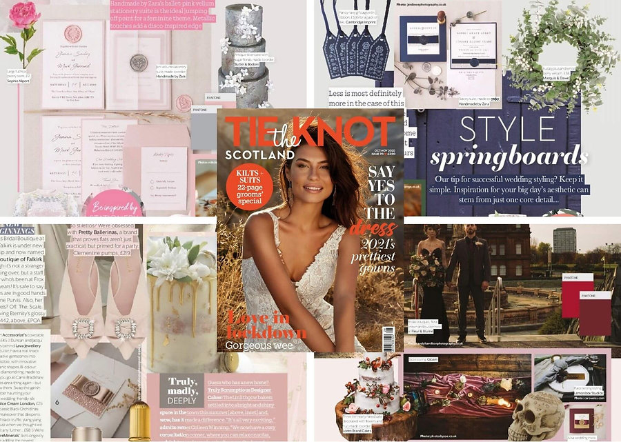 Tie the Knot Scotland Magazine October November 2020 handmade luxury wax seal wedding invitations blush pink navy silver elegant cream burgundy gold