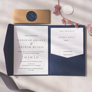 personalised wedding pocketfold wedding invitation