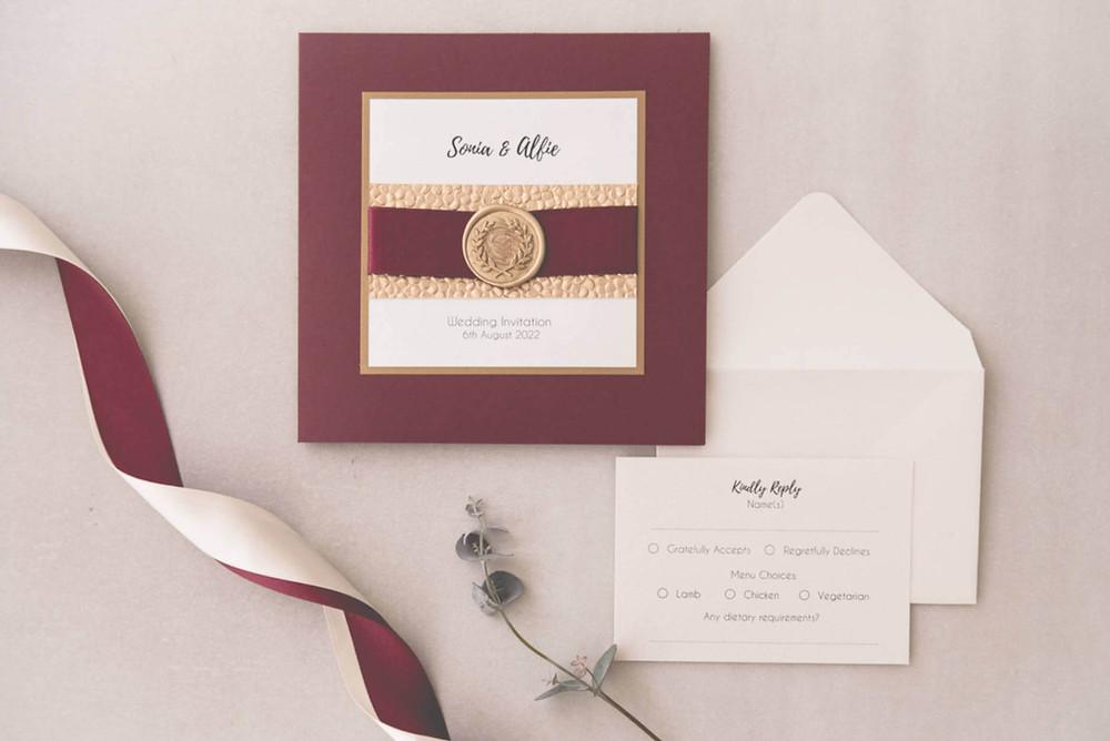 luxury handmade pocketfold wedding invitation burgundy and gold