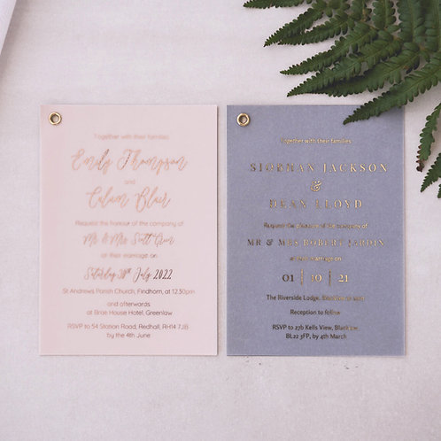 rose gold foil on vellum wedding invitation samples glasgow