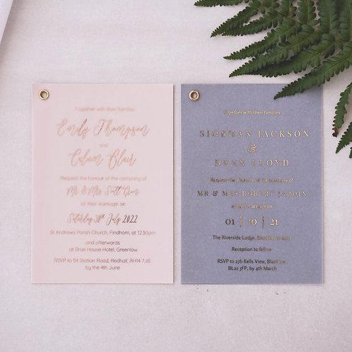 rose gold foil on vellum wedding invitation samples glasgow