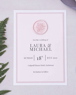 wax seal save the date blush pink