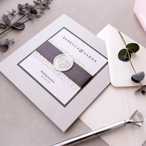 silver white handmade wedding invitation Edinburgh