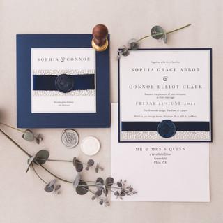 handmade navy silver evening invitation