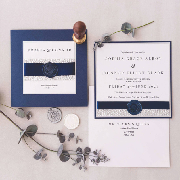 matching personalised wax seal wedding invite and evening invite stationery suite