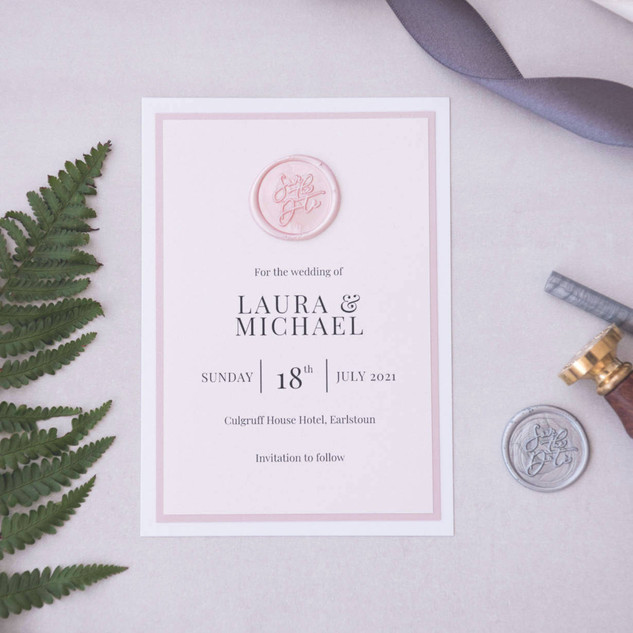 Save the Date card wax seal