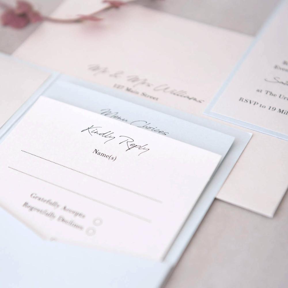Details card RSVP pocketfold handmade wedding invitation personalised