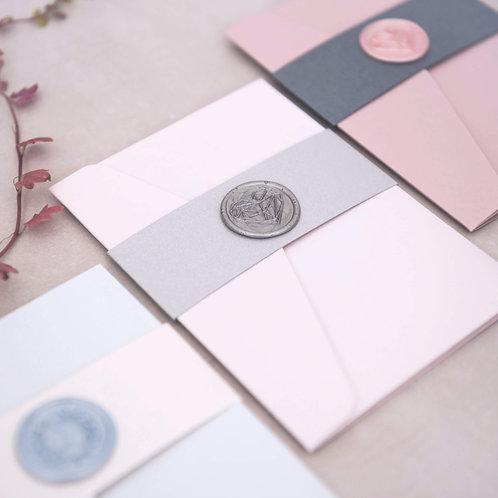 blush pink silver grey bellyband pocketfold wedding invitation sample
