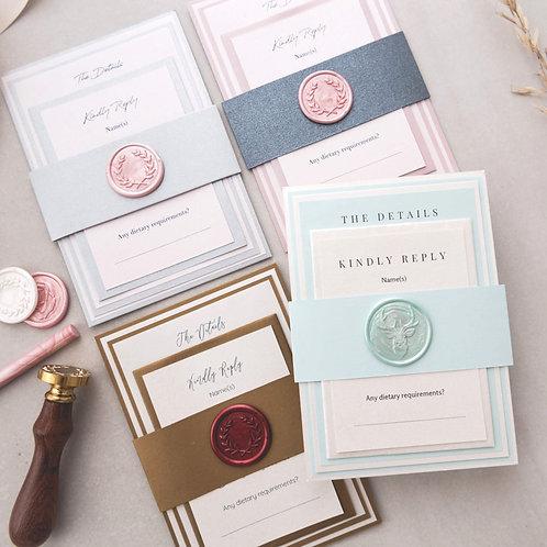 pink silver grey gold aqua wax seal bellyband layered wedding invitations samples