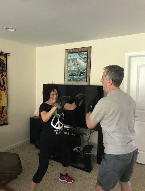man and woman boxing