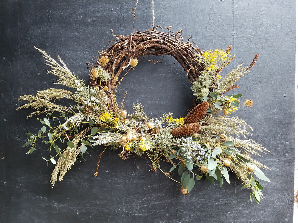 Dried Wreath, Rust and Thistle