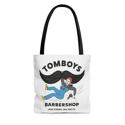 Tomboys Barbershop Sunny D Swinging from a Mustache AOP Tote Bag