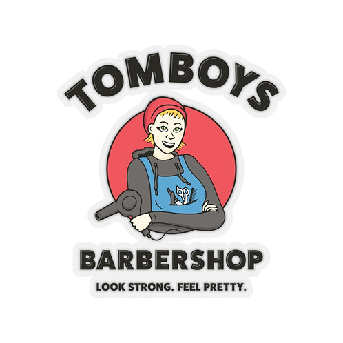 Tomboys Barbershop Red Logo Kiss-Cut Stickers