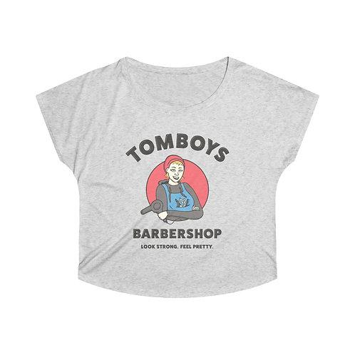 Tomboys Barbershop Red Logo Women's Tri-Blend Dolman