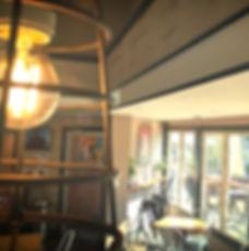 modern light fixture downtown coffee shop