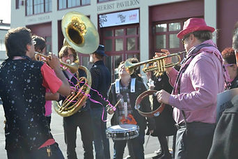 Adjunct Faculty perform in the Brass Liberation Band  Photo: Jennie Smith-Camejo