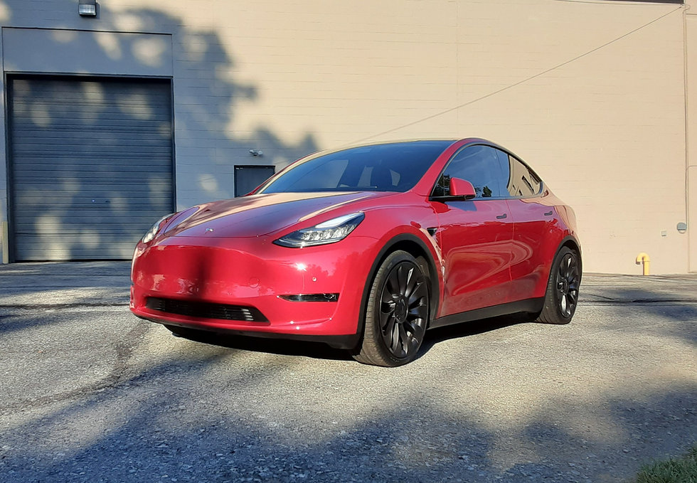 Tesla Model Y Red with Full Body Paint Protection Film by Immaculate Paint Protection
