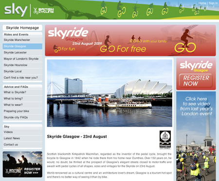 Skyride website