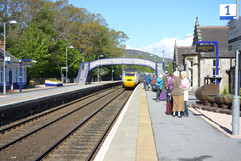The morning train to London arrives at Pitlochry Station