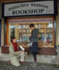 Teddy proposes to Hadley on the platform outside Pitlochry Station Bookshop