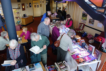 Bookshop stall at Winter Words in Pitlochry Theatre