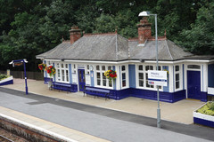 Buildings on the northbound platform at Pitlochry Station