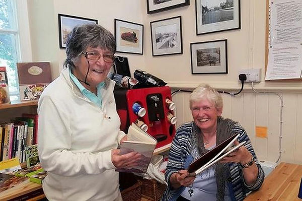 Volunteers Margaret and Sheila in Pitlochry Station Bookshop