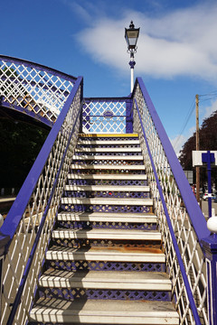 Stairway across the line at Pitlochry Station