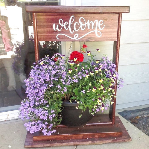Hanging Plant Welcome Sign Stand