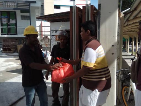 Free Food Distribution To Construction Site