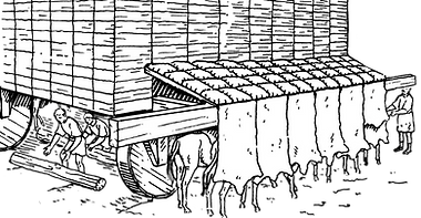 machine de siège romaine, tortue de terrassiers au siège d'Avaricum