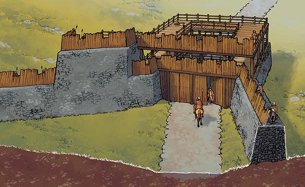 Restitution de la porte sud de Gergovie.
