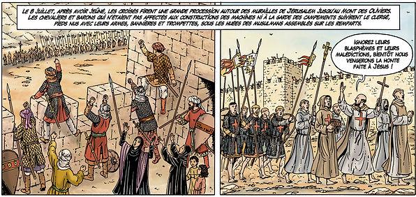 procession des croisés devant Jérusalem pendant la première croisade.