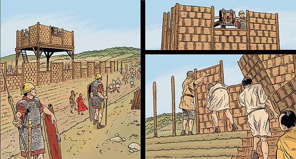 BD construction du grand camp romain devant Gergovie, Guerre des Gaules.