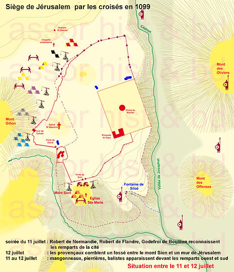 carte du siège Jerusalem-première croisade