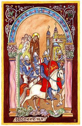 Robert Courteheuse aux Croisades, enluminure de Serge Mogère
