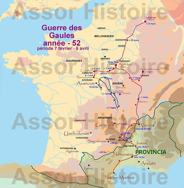 carte Guerre des Gaule -52_période début printemps