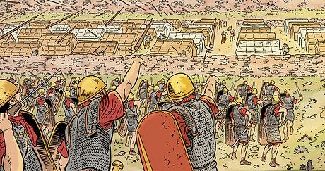 les Romains investissent le camp de Teutomatos, guerre des Gaules