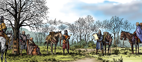 Louis VI le Gros et Henri Beauclerc s'entretiennent aux marches Normandes, près de l'ormeteu ferré.